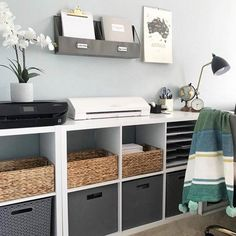 Cozy Home Office, Home Office Storage, Home Office Setup, Home Office Design, Office Room Ideas, Office Inspo, Office Ideas For Home, Cottage Office, Ikea Home Office