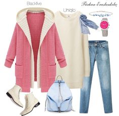 Jeans, white sweater, pink cardigan, white shoes, baby blue scarf, watch, blue bracelet