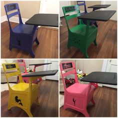 Refinished old school desks Spray painted bases, chalkboard painted tops, vinyl decals for names and graphics
