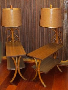 "1950's Pair of Bamboo Rattan ""Bam Tan"" Side Tables with Attached Lamps on Etsy, $485.00"