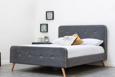 If you want a bed that lasts, then this bed is for you. Retro Fabric, Modern Classic, Bed Frame, King Size, Attic, Charcoal, New Homes, Bedroom, Interior