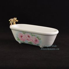 Victorian Clawfoot Bathtub Soapdish Pink Roses Hand Painted Porcelain - Artistic Romantic  - 1 Victorian Decor, Victorian Fashion, Tea Roses, Pink Roses, Cottage Style Baths, Painted Porcelain, Hand Painted, Aqua Background, French Country Cottage