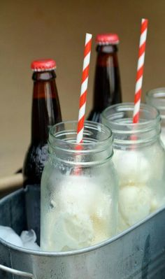 Root Beer Float Bar - but maybe have multiple flavors of soda (orange, grape, root beer, strawberry) and smaller glasses so you could try different flavors??