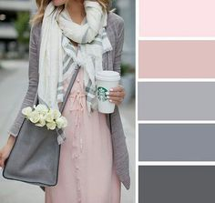 Pink and Gray color palette Colour Combinations Fashion, Color Combinations For Clothes, Fashion Colours, Colour Pallete, Colour Schemes, Color Combos, Color Trends, Pink Palette, Pink Color Palettes
