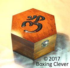 Hexagon Ohm Symbol Jewellery Box - Wooden Engraved Blue Glitter & Black Paint -14.5 x 16.5 x 9cm-Keepsake/Trinket/Jewelry FREE DELIVERY UK