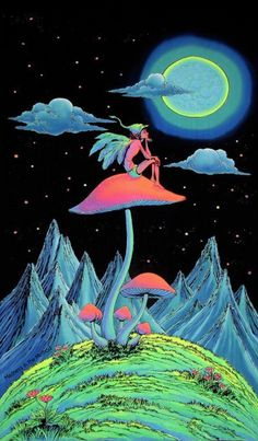Trippy Wall Art Mushroom Fairy Psychedelic Tapestry Trippy Wall Hanging Uv Active Batik Wall Hanging Shrooms Black Light Art Decor - Yoga is a group of physical Arte Dope, Dope Art, Trippy Drawings, Art Drawings, Psychedelic Art, Dope Kunst, Art Visionnaire, Trippy Painting, Painting Abstract