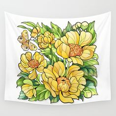 Yellow Flowers Wall Tapestry by MIKART | Society6