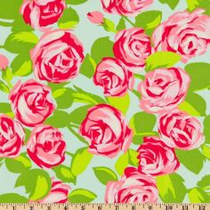 Amy Butler Love Tumble Roses Pink - Discount Designer Fabric - Fabric.com