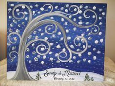 HERE IS A BEAUTIFUL WINTER THEME WEDDING GUEST BOOK THUMBPRINT TREE!    THIS MAKES A PERFECT WEDDING GUEST BOOK ALTERNATIVE!    YOUR GUESTS