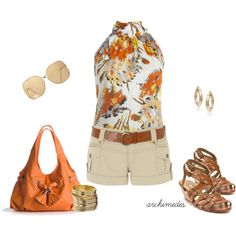 european fashion, short, orang, cloth, style, summer outfits, polyvore, wear, fashion women