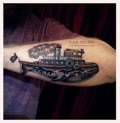 whale & ship by HB Nielsen at AKA #tattoos