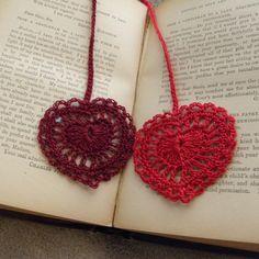 Heart Bookmark by grandmascrochet on Etsy