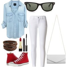 Untitled #47 by tali1313 on Polyvore featuring polyvore, fashion, style, Converse, Akira, Ray-Ban, Dolce&Gabbana and Laura Mercier