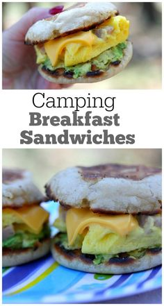 Camping Breakfast Sandwiches Recipe : a fun, delicious and filling recipe to make on your camping stove in the great outdoors.  This recipe will keep you full for a day of hiking or enjoying the outdoors!  Camping recipes are great to have around! @Thomas' Breads