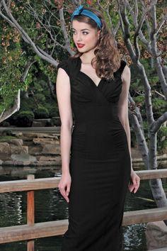 Stop Staring! - 50s Harmosa Pencil Dress in Black