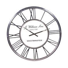 Large Chrome Metal Roman Numeral 80cm Diameter Round Wall Clock