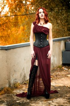 Love this, but would put a long leather skirt underneath to match corset material