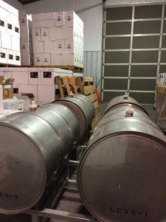 The orange muscat grape juice is fermenting nicely in stainless steel tanks for Locati Cellars Dry Orange Muscat wine