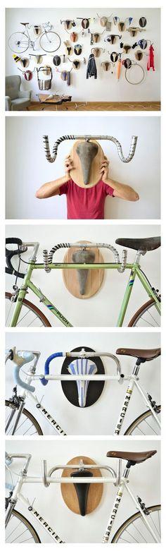Decoração e suporte de bike feito de bike