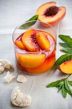Peaches Poached in Prosecco with Homemade Amaretti