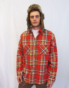 Vintage 80s 90s Mens Big Mac JCPenny Red Plaid Thick Flannel Cotton Hipster Winter Fall Lumberjack Hunting Button Up Shirt Coat Punk Grunge
