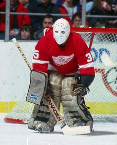 Hockey Goalie, Hockey Games, Hockey Players, Ice Hockey, Detroit Hockey, Goalie Mask, Masked Man, Detroit Red Wings, Sports Pictures