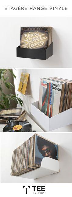 Storage shelf for vinyl record - Deco - Diy Bedroom Decor, Living Room Decor, Home Decor, Vinyl Shelf, Woman Bedroom, Storage Shelves, Interior Decorating, Sweet Home, House Design