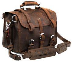 Crazy Horse Handmade Leather Men's Briefcase / Backpack / Laptop / Travel Bag