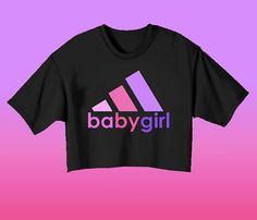 BABYGIRL Crop Top // Adidas Logo Pastel Goth by CelestialCult