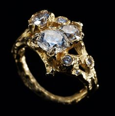 Diamond and yellow gold bespoke ring by Noemi Klein
