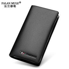 FALAN MULE New Brand Fashion Male Clutch Genuine Leather Men Wallet Luxury Purse Leather Wallet Men Clutch Bag Phone Card Holder