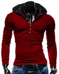Simple Solid Color Buttons Design Slimming Hooded Long Sleeve Fashion Polyester Hoodie For Men (RED,L) | Sammydress.com Mobile