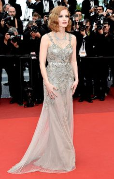 Jessica Chastain in Alexander McQueen with Piaget jewels - 'Money Monster' - Red Carpet Arrivals - The 69th Annual Cannes Film Festival #Cannes2016