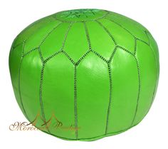 Lime Green Leather Pouf