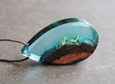 Statement Necklace, Resin Wood Necklace, Drop Pendant, Underwater Jewelry, Moss necklace, Ocean necklace, Unique gift, Wood and Resin