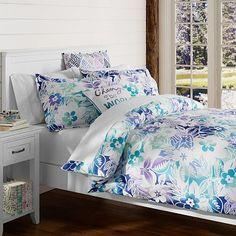 Island Floral Duvet Cover + Sham, Blue Multi #pbteen