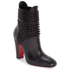 """Christian Louboutin 'Praguoise' Spike Bootie, 3 1/2"""" heel (13,280 EGP) ❤ liked on Polyvore featuring shoes, boots, ankle booties, ankle boots, black leather, d'orsay shoes, christian louboutin shoes, christian louboutin pumps, silver metallic shoes and red sole shoes"""