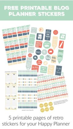 free printable blog planner happy planner retro stickers