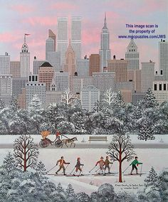 Cross Country in Central Park by Jane Wooster Scott ~ skiers ~ city ~ NY