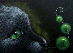 Art: BLACK CAT GREEN EMERALD BEADS by Artist Cyra R.