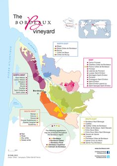 Vineyard map of Bordeaux. #wine #bordeaux #winesoffrance