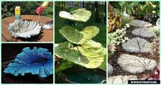 DIY Big Concrete Leaf Garden Projects Instructions:Concrete Leaf Sand Cast Birdbath; Concrete Leaf Stepping Stone; Concrete Fountains
