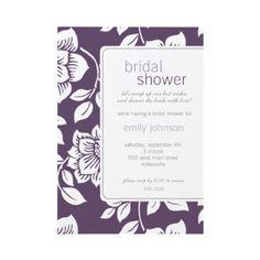 purple floral bridal shower invitations