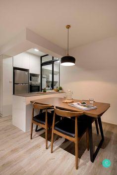 Modern and monochrome interior Kitchen Cabinet Design, Modern Kitchen Design, Kitchen Layout, Kitchen Ideas, Muji Home, Home Fix, Apartment Design, Home Decor Accessories, Home Renovation