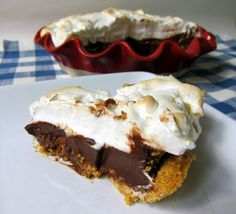 S'mores Pie - graham cracker crust, chocolate filling and marshmallow meringue!