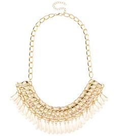 Gold Chunky Chain Pearl Choker