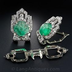 Art Deco Moghul Emerald and Diamond Clips and Brooch