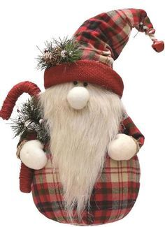 """16.25"""""""" Red and White Plaid Sitting Santa Gnome with Candy Cane Plush Table Top Christmas Figure"""