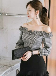 Discover ideas about K Fashion « theguardianstyle Crop Top Outfits, Girly Outfits, Classy Outfits, Stylish Outfits, Dress Outfits, Fashion Dresses, Stylish Tops, Trendy Tops, Off Shoulder Outfits