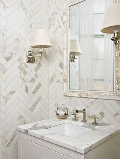 herringbone marble bathroom